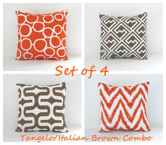 CJN - D: Orange and Brown Pillow Covers Set of 4 by BlossomPillowCo on Etsy, $80.00