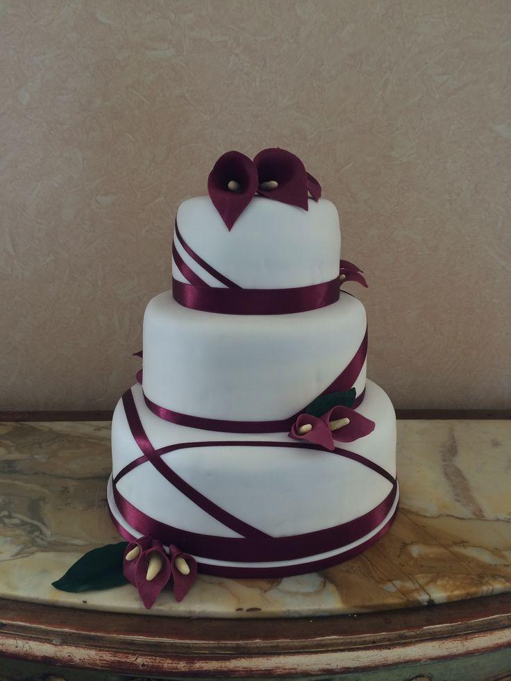 Burgandy Calla Lily Wedding Cake - Tuane & Liam 07.04.15