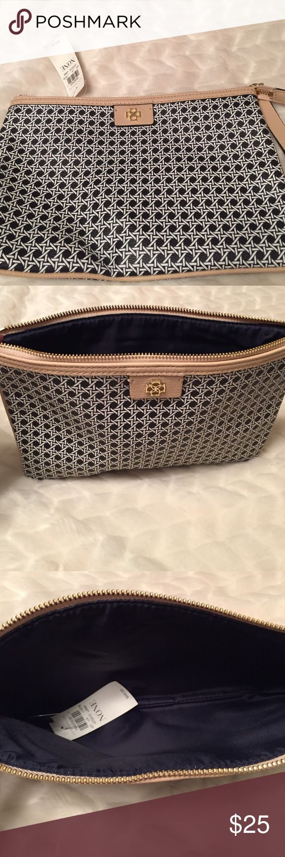 Ann Taylor clutch bag with handle Black and white woven pattern with beige trim. Ann Taylor Bags Clutches & Wristlets