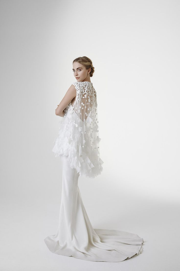EDITH: Mermaid gown in crepe cady with cape embroidered with chiffon cubes and petals and crystals