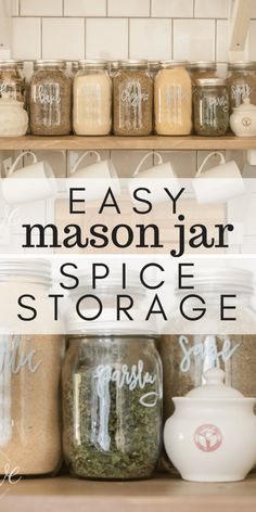 Super easy mason jar spice storage!  Such a stylish and functional addition to your kitchen. #kitchendecor