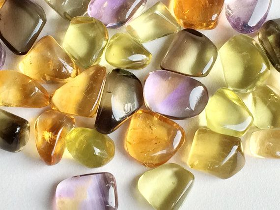 Multi Gemstone Beads Lemon Quartz Tumbles Citrine by gemsforjewels