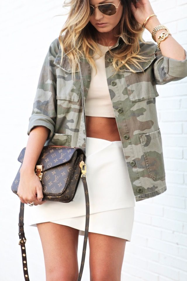 Topshop Camo Jacket, Crop Top, White Mini Skirt, Schutz shoes, Louis Vuitton Pochette -- Today on For All Things Lovely: Neutral in Camo