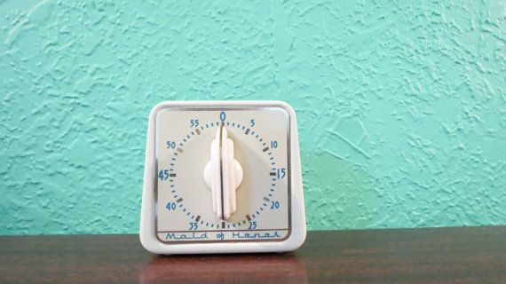 Lux Maid of Honor White Kitchen Timer with Turquoise Numbers, Mid-Century Vintage Kitchen Decor and Accessories on Etsy, $22.00