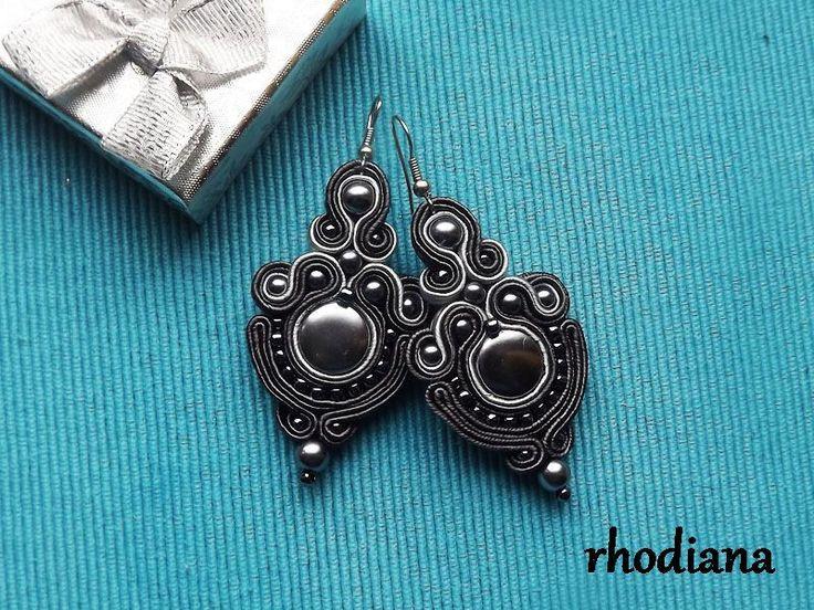 Ohrhänger - Graphit Grau soutache Ohrringe - ein Designerstück von rhodiana bei DaWanda