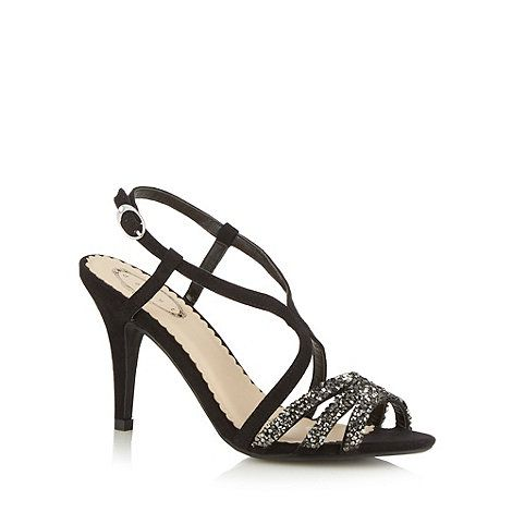 Debut Black embellished mid stiletto heel sandals- at Debenhams Mobile