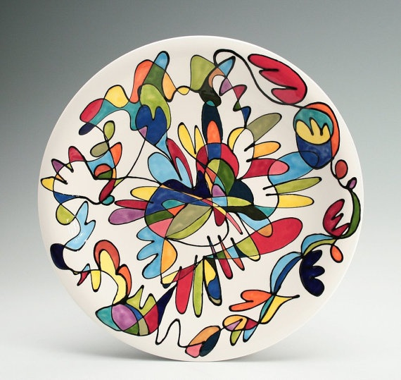 hand painted squiggle colors plate  sc 1 st  Pinterest & 167 best Clean Plate Club images on Pinterest | Ceramic painting ...
