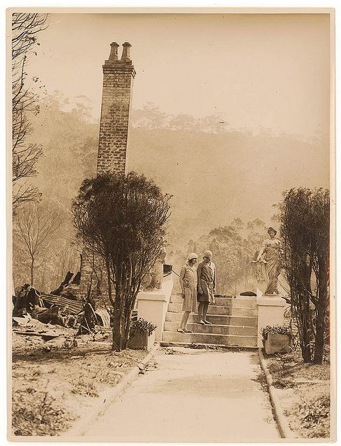 Women and ruins of house after bushfire, by Sam Hood c. 1920s by State Library…