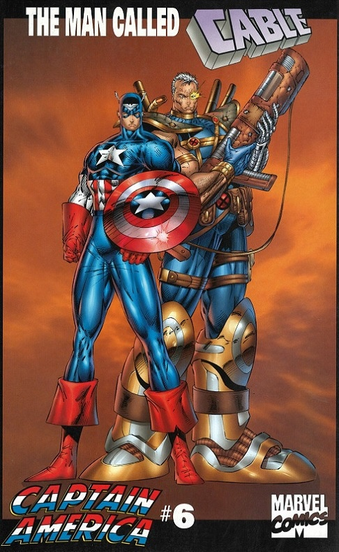 Captain America and Cable by Rob Liefeld. Sadly, Cable tripped during a fight with the Sentinels because of his ridiculously massive boots and he is now a red puddle. The boots made it though.