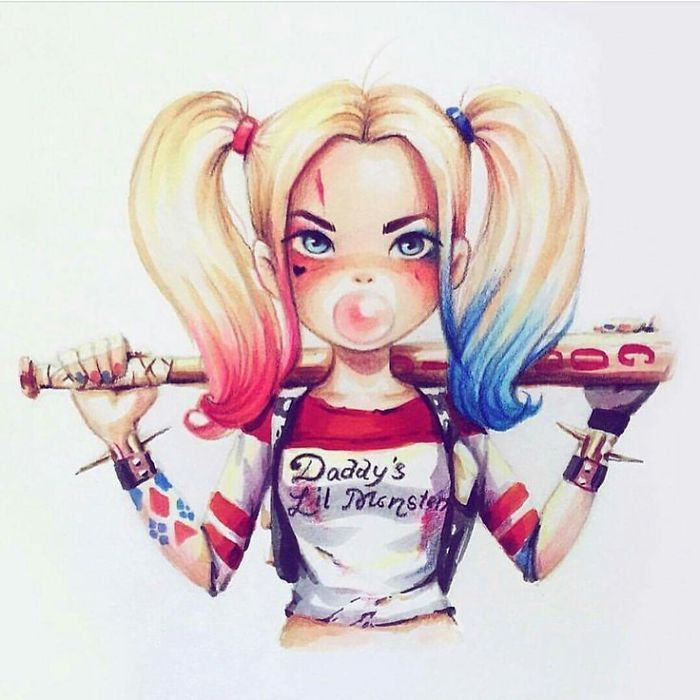 Russian Artist Turns Celebrities Into Adorable Cartoon Characters // suicide squad Harley Quinn with bat // fan art sketch illustration painting colored pencil drawing
