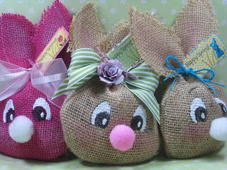 In the Pink, Designs by Cathryn: Burlap Bunny Treat Bags - 3-D Wednesday with My Creative Time