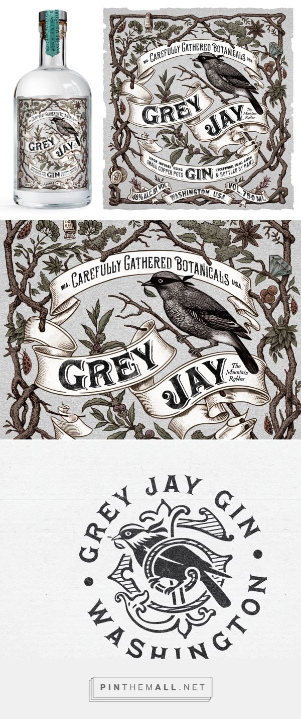 Grey Jay Gin on Behance by Rowan Miller London, UK curated by Packaging Diva PD. The Grey Jay bird, is from the same mountains where this small batch gin is distilled. Branding, Graphic Design, Packaging