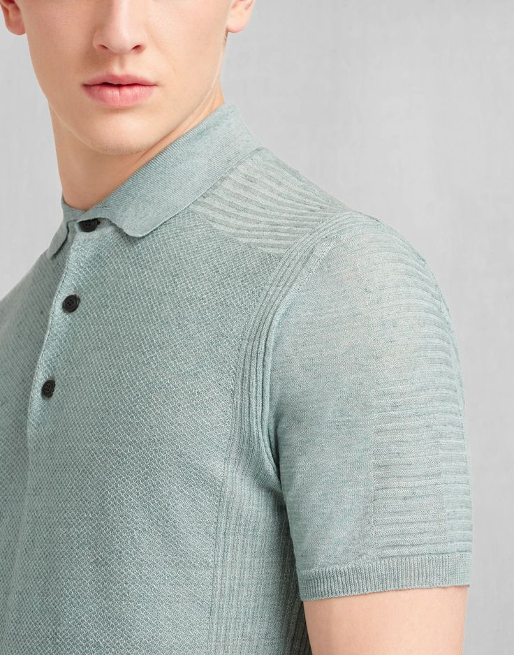 Kash Polo Sweater - Mineral Blue Linen Shirts & Tops