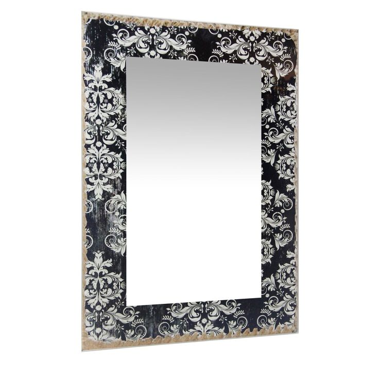 23.5 Inch Large Wall Mirror French Country by Infinity Instruments (Antique Black - Black)