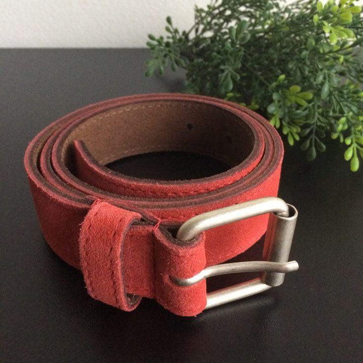 oranje riem van leder met suede - last week online - 4leafs4joy - handy - 98 cm lang - 3 cm breed - metalen gesp - echt leder - suede bovenzijde