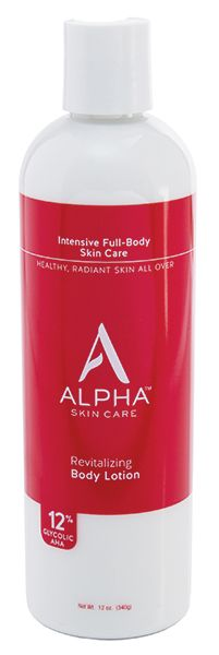 Alpha Skin Care's popular Revitalizing Body Lotion with 12% Glycolic Alpha Hydroxy Acid gently exfoliates leaving skin soft, smooth, and younger-looking from head to toe.