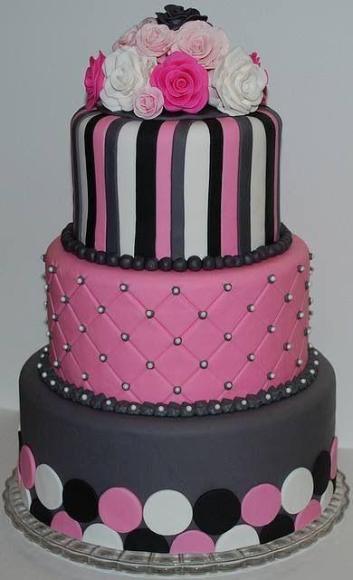 Pink, black, white and gray girly cake