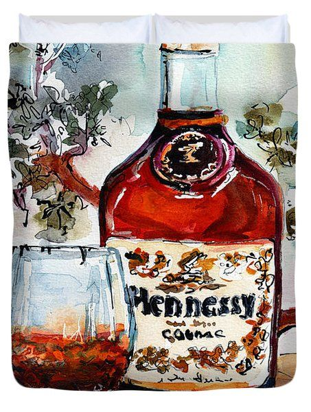 Duvet Cover featuring the painting Cognac Hennessy Bottle And Glass Still Life by Ginette Callaway