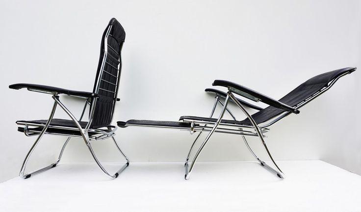 2 Vintage recliner tuinstoelen, ligstoelen, klapstoelen, campingstoelen Van het merk Maule, Italiaans design uit de jaren 70, gesigneerd onder de armleuning Maule Mod. dep. Heb je een vintage...