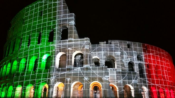 Italian flag projected on to the Roman Colosseum