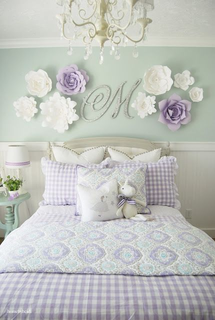 "Forget the colors but the concept above the bed. Paper Flowers and ""J"" monogram for Jilly."