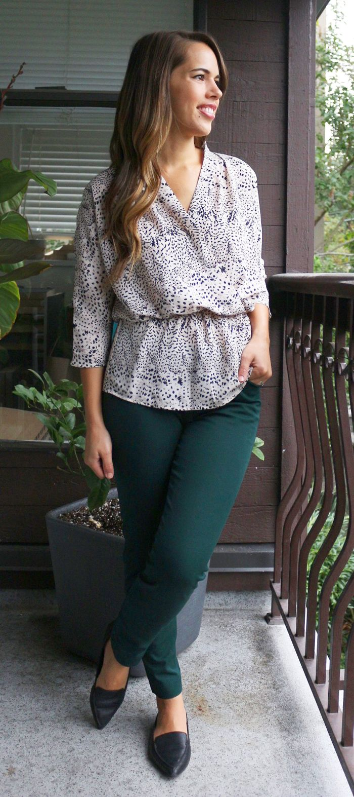 Jules in Flats Sept 7 Outfit - Old Navy Pixie Pant, Dynamite Wrap Blouse, Aldo…