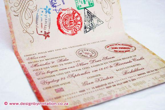 Passport Wedding Invitation Paspoort Trou-Uitnodiging © www.designbyinvitation.co.za