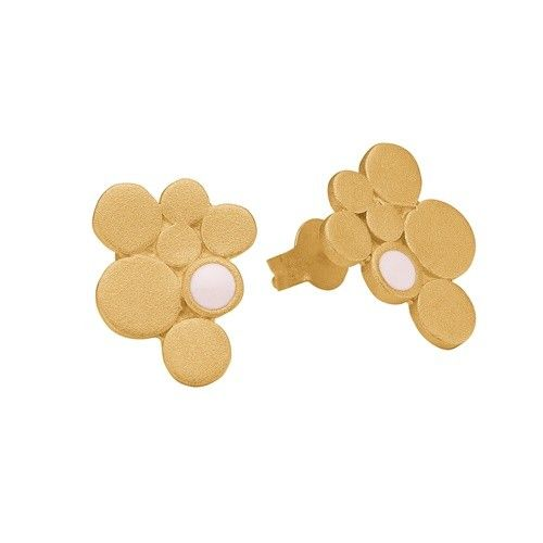 Stud, 7 circles, light pink, gold plated sterling silver