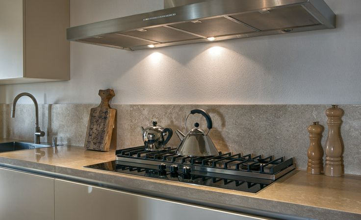 cooking area with both gas and induction.
