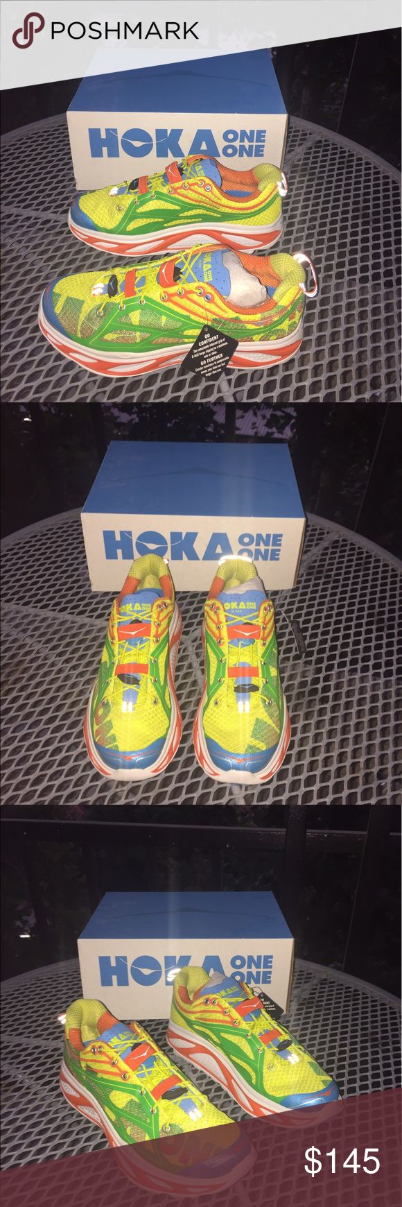NWB Hoka One cushioned running shoe Mild stability shoe provides extra cushioning for added support perfect for long distance runners ever worn Men's size 7 or women's size 9 comes with an extra pair of insoles and laces Hoka One Shoes Athletic Shoes