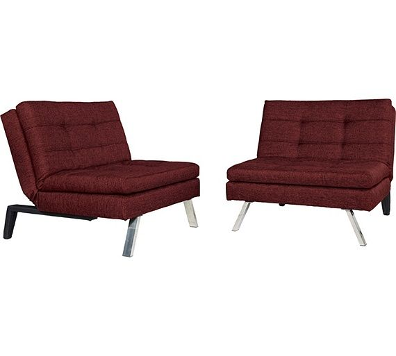 Home Duo 2 Seater Fabric Clic Clac Sofa Bed Red At Argos Co