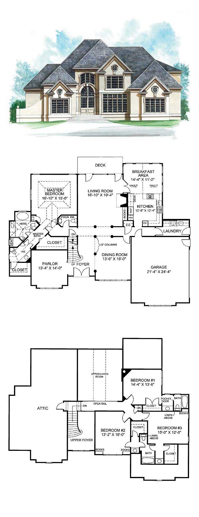 Greek Revival House Plan 72150   Total Living Area: 3152 sq. ft., 4 bedrooms & 5.5 bathrooms. #greekrevival #houseplan