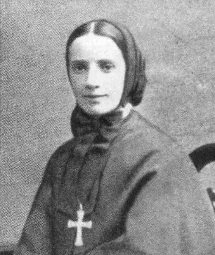 St. Frances Cabrini Patron of: emigrants, immigrants, hospital administrators, orphans   Symbol: pictured seated with a large cross and watch fob  Her feast day is Nov 13.