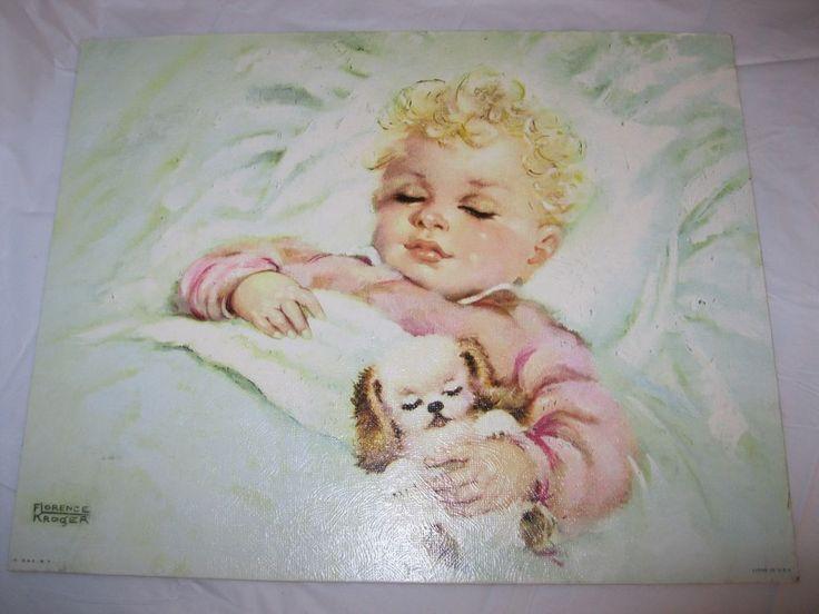 1950's FLORENCE KROGER Litho Print SWEET DREAMER BABY GIRL SIGNED Vintage #Vintage #lithograph #artist #1950s #florencekroger #baby #babygirl #sweet #dreamer