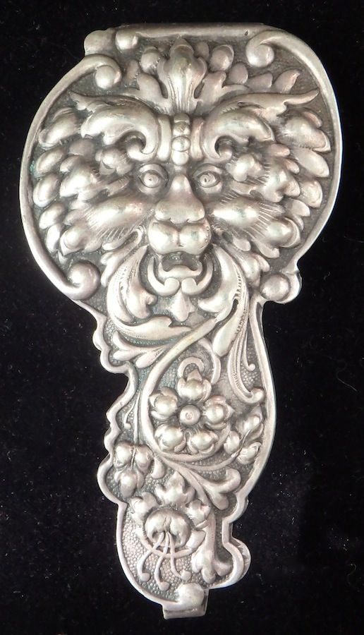 "Victorian silverplate chatelaine hook, lion mask or green man, 3"" long"