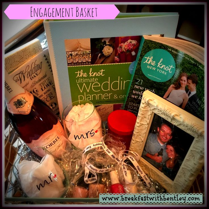 DIY Engagement Basket - Wedding Planner, Bridal Magazines, Champagne and so many more fantastic items! Great gift for newly engaged couple!