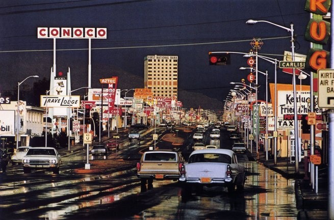 Ernst Haas (1921-1986)  'Route 66, Albuquerque, New Mexico, USA'  1969, printed later  Chromogenic print mounted to board  Estate stamp on verso  30 X 40 inches  EHA-00898-SP  © Ernst Haas, courtesy of Bruce Silverstein Gallery, NY
