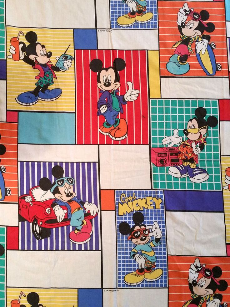 Vintage 1980s Disney Cool Mickey Mouse Twin Flat Bed Sheet Bedding Fabric | Collectibles, Disneyana, Contemporary (1968-Now) | eBay!