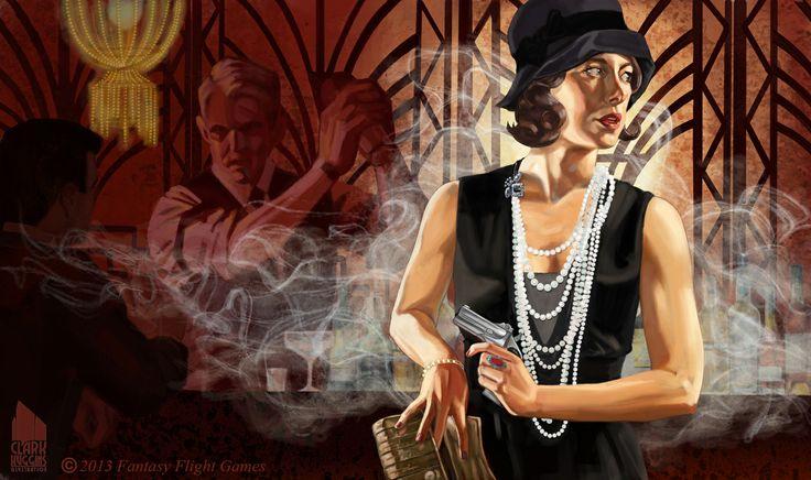 SYNDICATE AGENT. A card for an ARKHAM HORROR tabletop game expansion. Artist Liza Biggers as model. #Lovecraft #HPLovecraft #cthulhu #femmefatale #vintage #noir #filmnoir #flapper #pearls #clutch #derringer #speakeasy #lounge #bar #cocktails #espionage #spy #pearls #arkhamhorror  #callofcthulhu #fantasyflightgames
