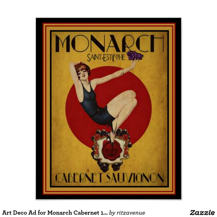 Art Deco Ad for Monarch Cabernet 16 x 20 Poster  $15.00