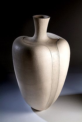 Ceramics by Wendy Hoare at Studiopottery.co.uk - 2008. Split Vanilla Pod, 1 metre high, stoneware.