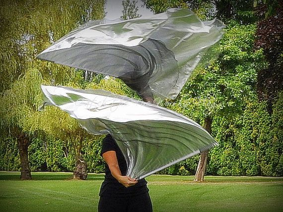 SWORD of the SPIRIT, Psalm 149:6-9 (triple layer) angel wings Worship Flags (silver organza & silver lamé angel wings.)