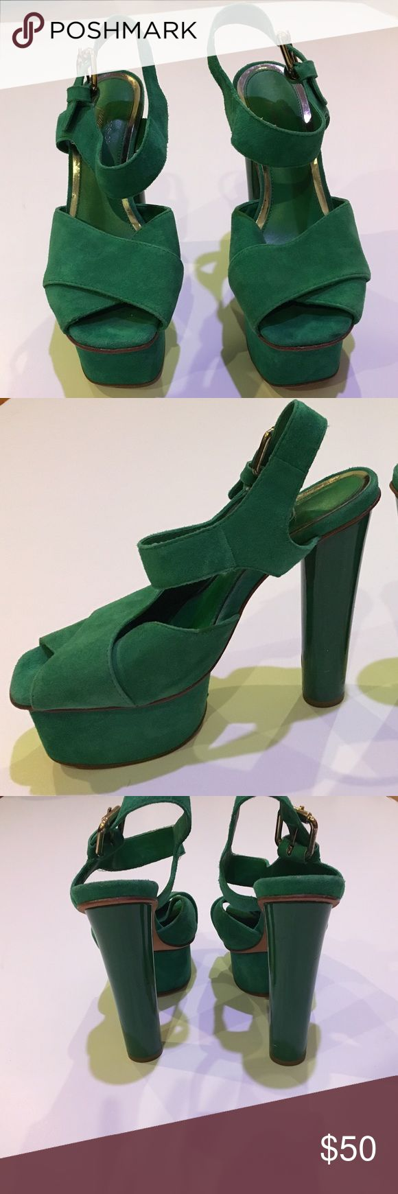 Topshop premium green suede heels Pre loved but still in good condition. Does show some signs of wear, which can probably come off once cleaned. Size 38 Topshop Shoes Heels