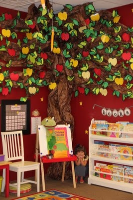 Holy crap!  Look at this tree for the classroom.  How would I make something like this?  Great for kids space - use my tree in similar fashion