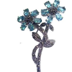 Thia Marcasite BROOCH with blue cz flowers. . See - http://www.comeandshop.com.au/collections/jewellery/Brooch for details of other Brooches available from Come & Shop