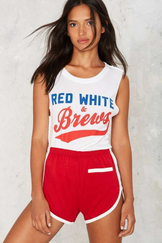 Social Decay Red White & Brews Muscle Tank - Clothes