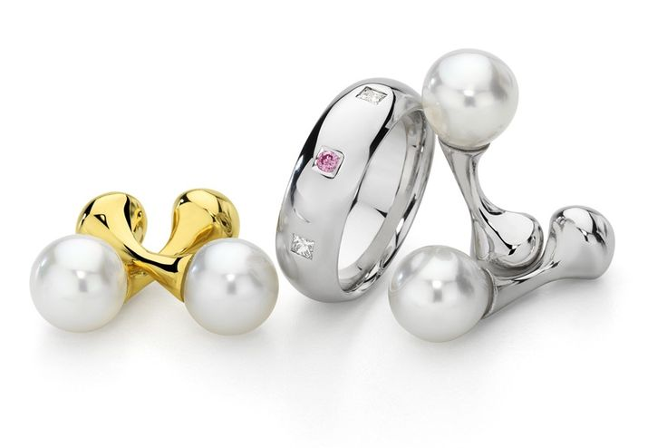 18ct yellow gold and white gold cufflinks with Australian South Sea pearls.