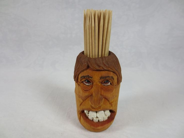 WOODEN TOOTHPICK HOLDER Carved Head with Big Teeth Artist Signed  ~Humorous #SignedbyArtist #ArtistnamedRaineyorGaineyorGrainey