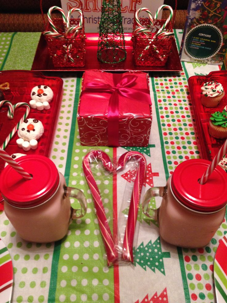 Day 1-North Pole Breakfast. Elf milk and candy canes.