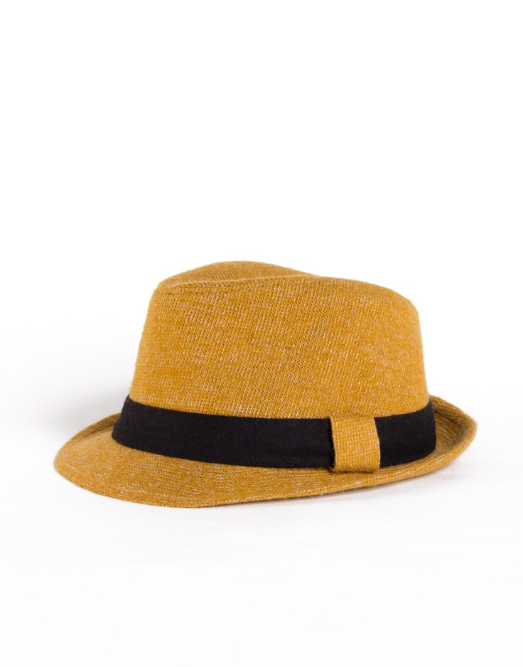 Tweed Fedora. love the mustard colour.